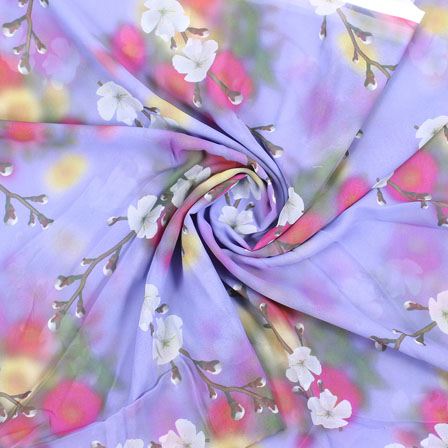 Purple White and Pink Flower Georgette Silk Fabric-15110
